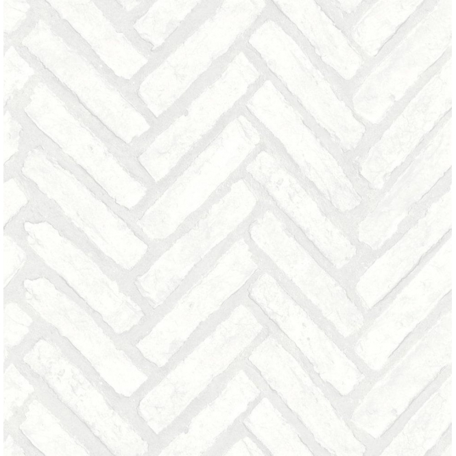 Fine Decor Distinctive Herringbone Brick Wallpaper White (FD40886)