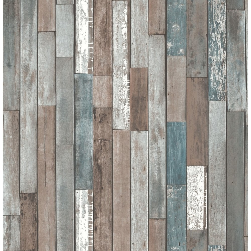 Fine Decor Distinctive Parquet Wood Reclaim Wallpaper Blue