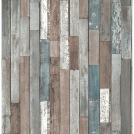 Distinctive Parquet Wood Reclaim Wallpaper Blue (FD40888)