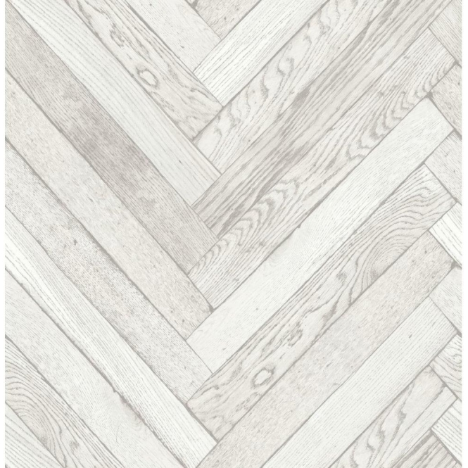 Fine Decor Distinctive Parquet Wood Wallpaper White (FD40882)