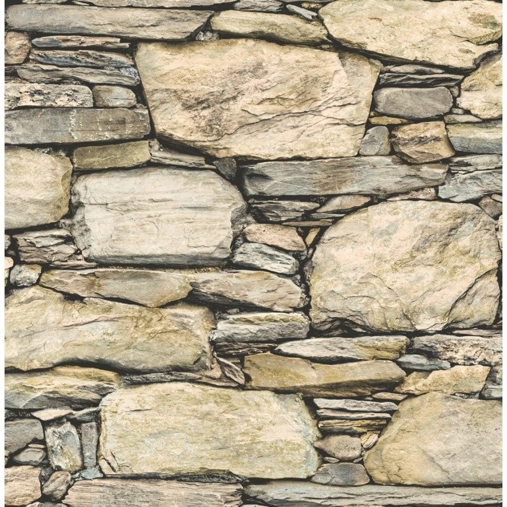 Stone Effect Kitchen Wallpaper: Distinctive Slate Stone Wall Wallpaper Natural Beige