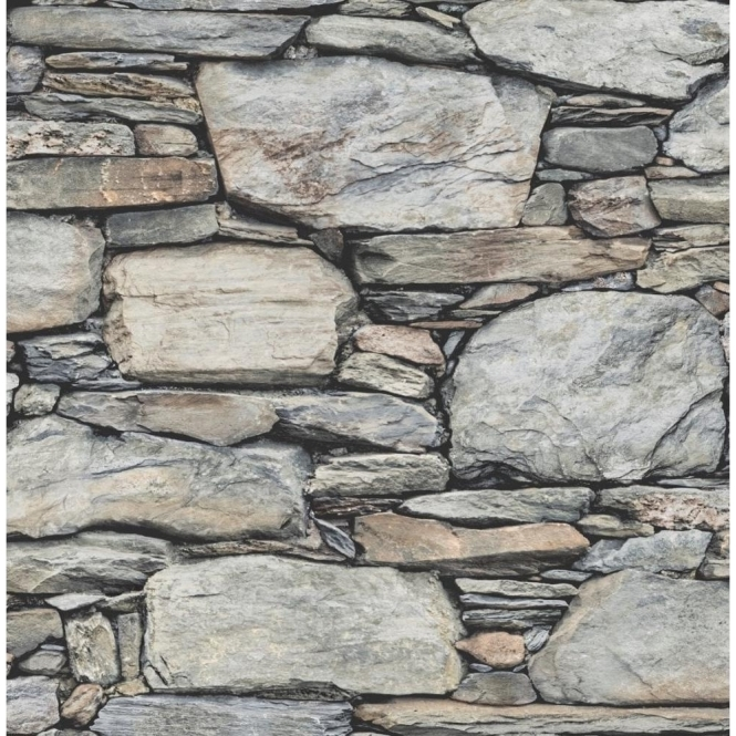 I Love Wallpaper Distinctive Slate Stone Wall Wallpaper Natural Grey, Light Beige (ILW980062)