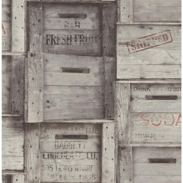 Distinctive Wood Crates Wallpaper Grey (FD40944)