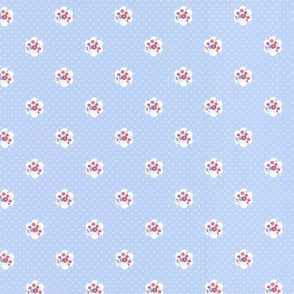 Ditsy Chic Wallpaper Blue Cream Red