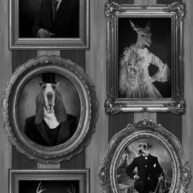 Dogs in Frames Wallpaper Grey and Charcoal (J59309)