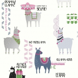 Drama Llamas Childrens Glittered Wallpaper Multicoloured