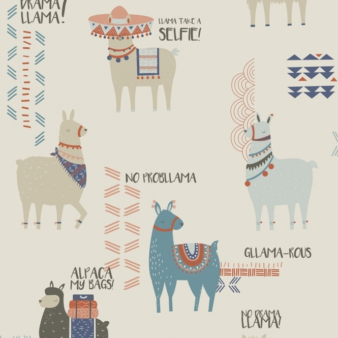 Crown Drama Llamas Childrens Wallpaper Orange Teal