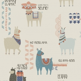 Drama Llamas Childrens Wallpaper Orange Teal