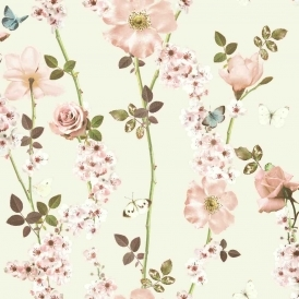 Dreamscape Floral Trail Wallpaper Ivory Multicoloured