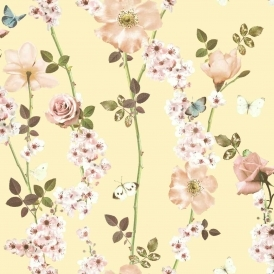 Dreamscape Floral Trail Wallpaper Lemon