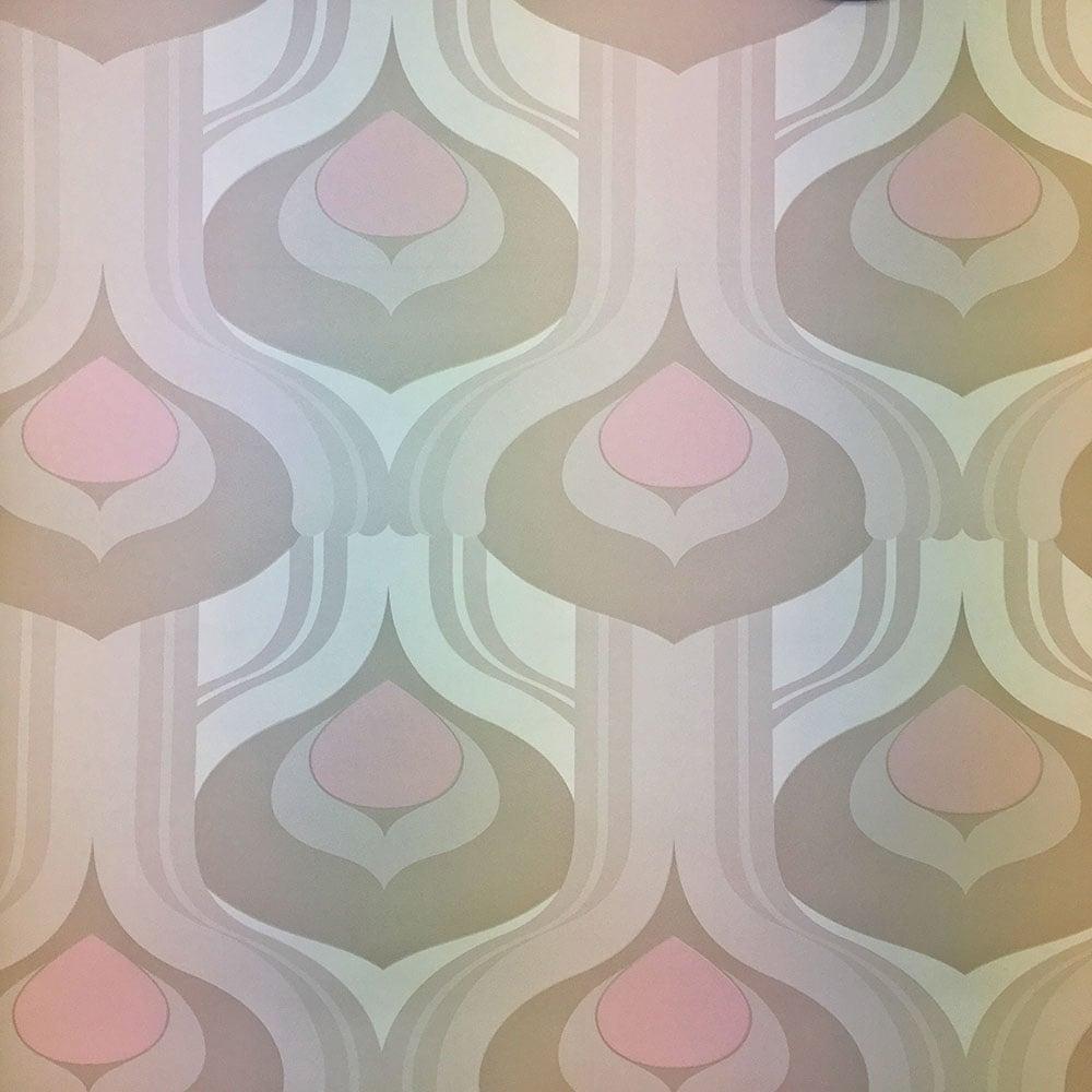caselio dulcie retro wallpaper pink beige 54584124. Black Bedroom Furniture Sets. Home Design Ideas