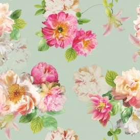 Elena Floral Wallpaper Duck Egg, Pink
