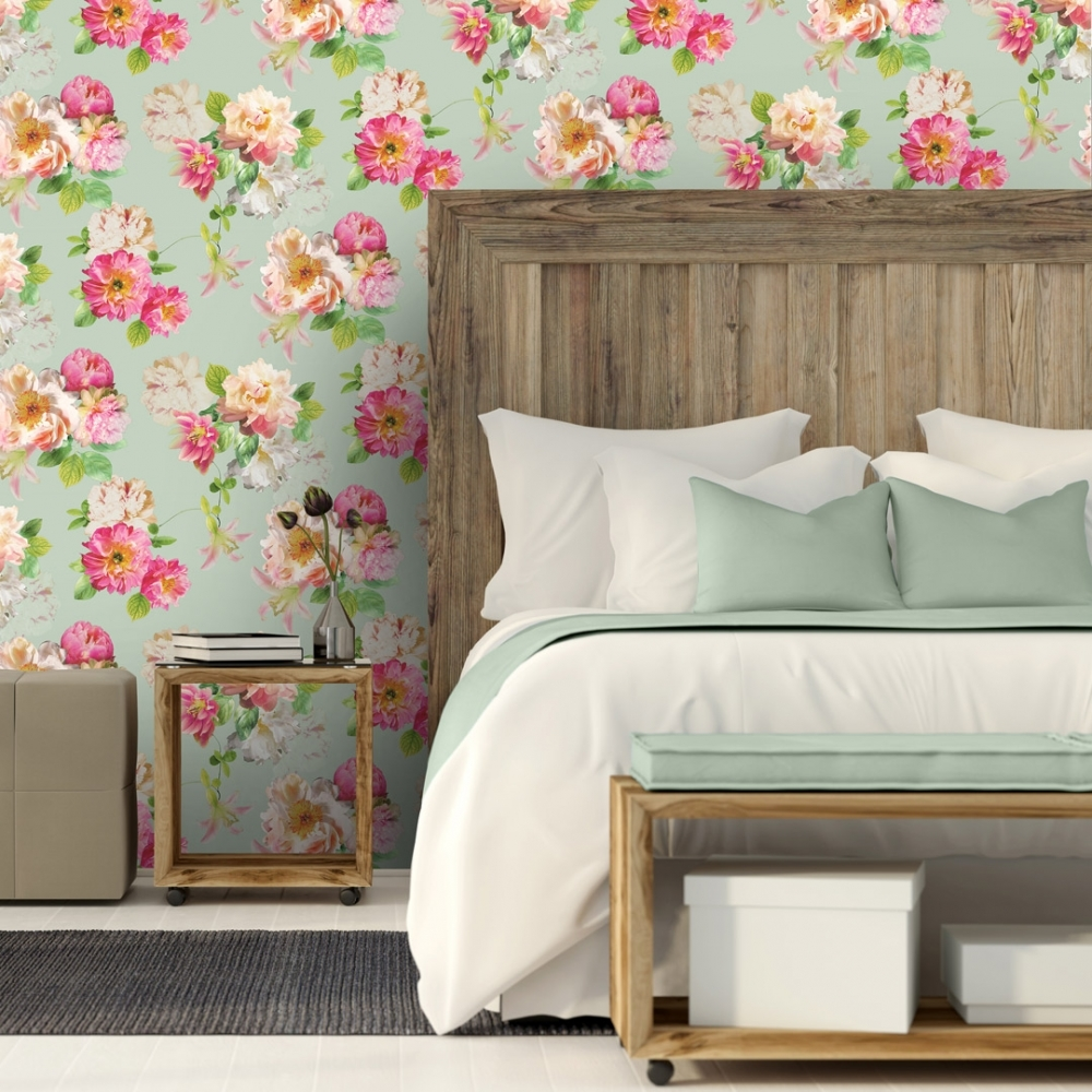 Elena Floral Wallpaper Duck Egg Pink Wallpaper From I Love