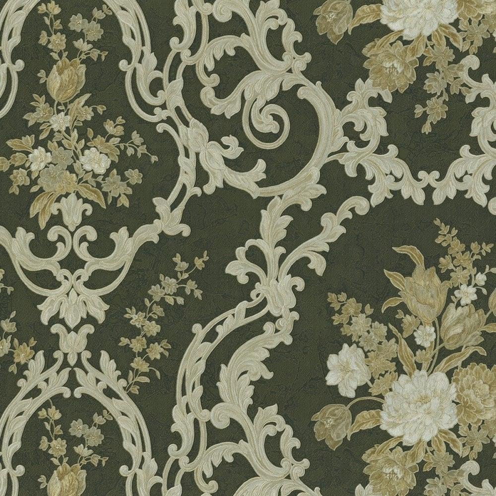 Esedra Fiorarte Floral Damask Wallpaper Black Gold Double Rolls 43127