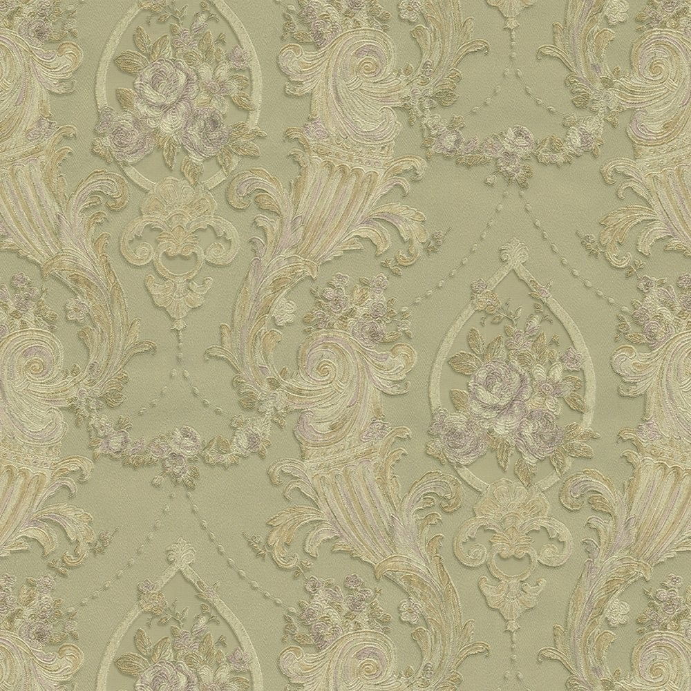 Esedra Imperiale Ornate Damask Wallpaper Green Gold Double Rolls 43024