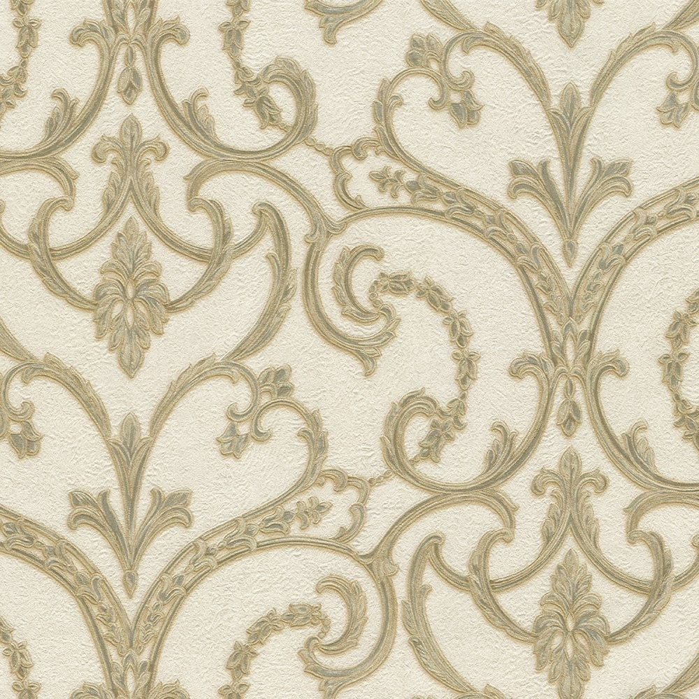 Lusso Principessa Damask Wallpaper Cream Gold Double Rolls