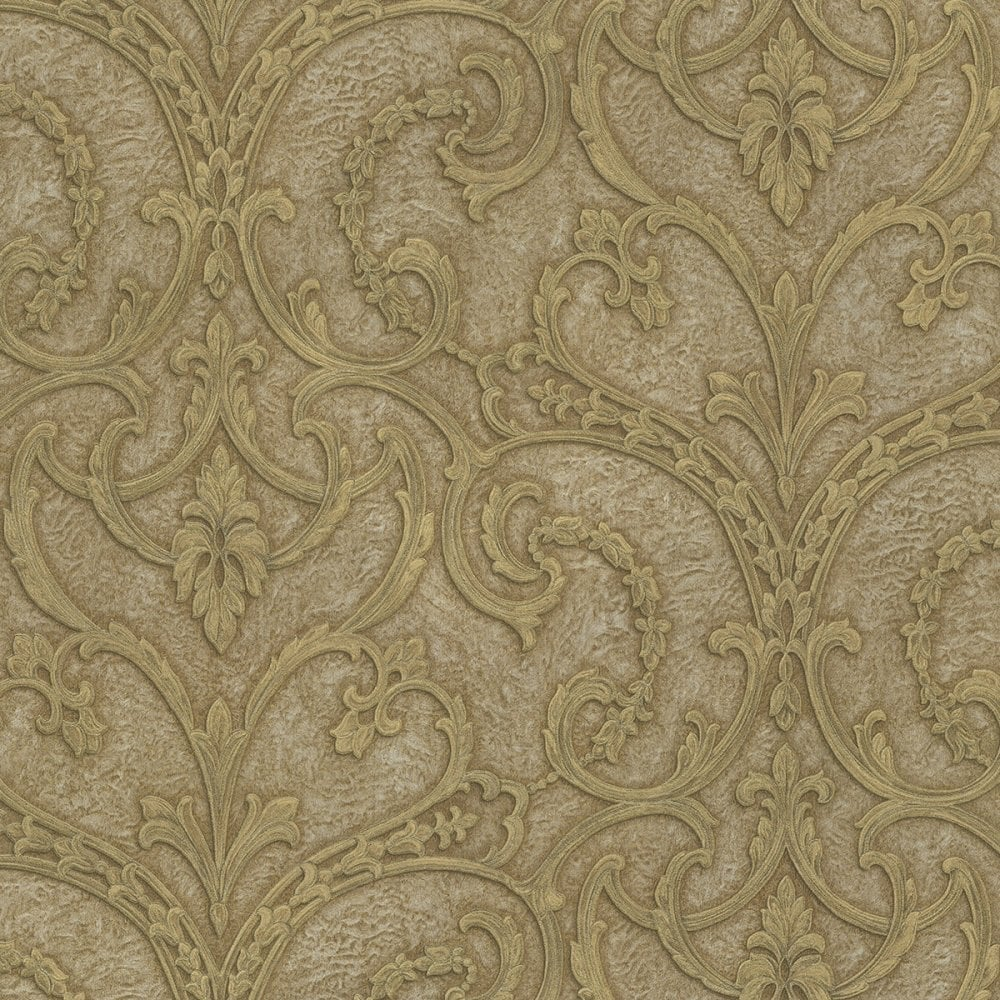 Emiliana Lusso Principessa Damask Wallpaper Rich Beige Gold Double Rolls 81403