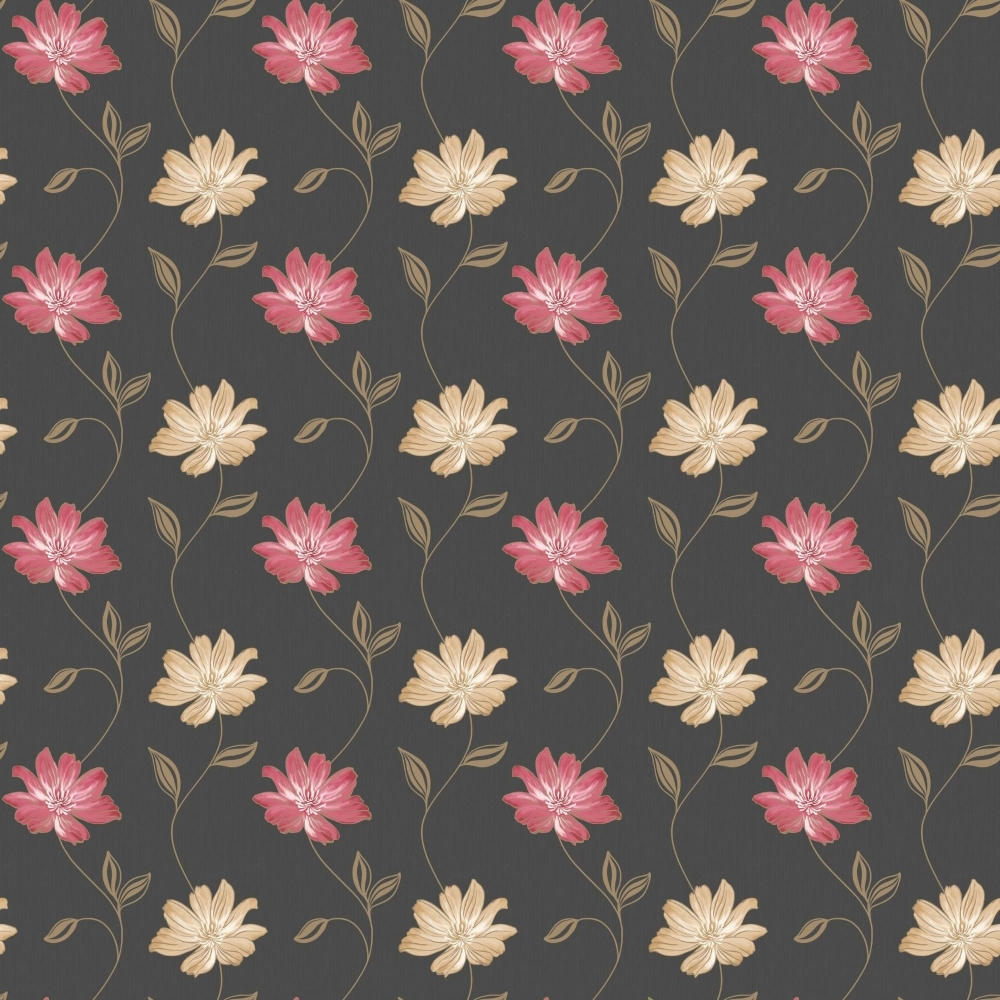 Muriva Emily Floral Wallpaper Black Red Gold Peach 120101