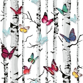 Emperors Garden Wallpaper White Multicoloured