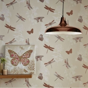 Enchanted Wings Butterfly Wallpaper Copper (664901)