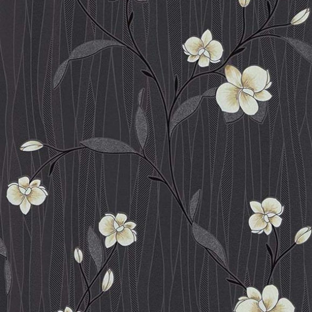Erismann orchid wallpaper cream black 9745 15 for Black and cream wallpaper