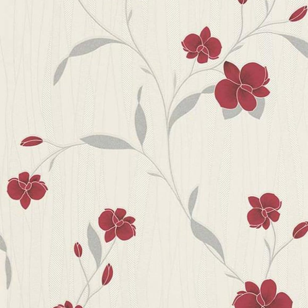 Erismann Orchid Wallpaper Red Cream 9745 06