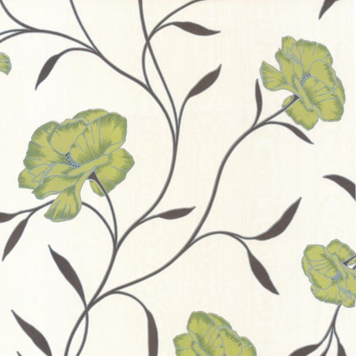Erismann Poppy Floral Wallpaper Green Cream Brown - Green and brown wallpaper
