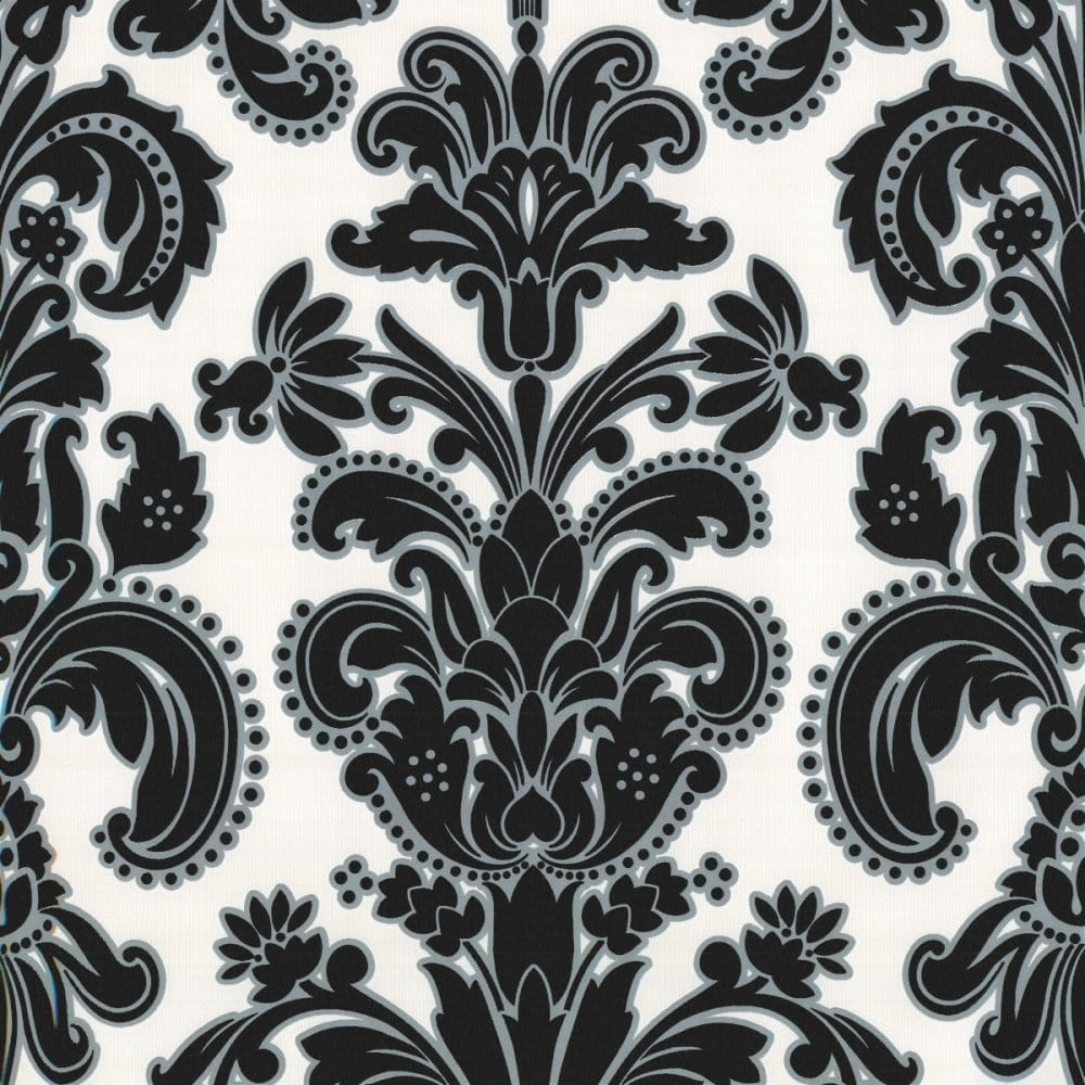 Photo collection damask wallpaper black white for Black white damask wallpaper mural