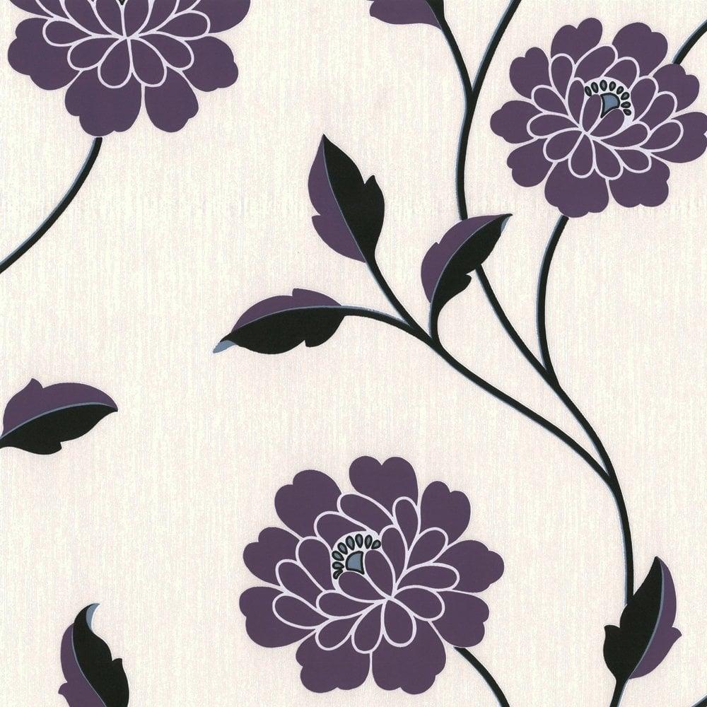 Savanna Floral Wallpaper Purple Cream Black 9610 09