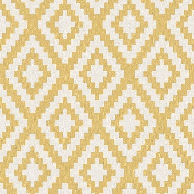 Fabric Geometric Wallpaper Yellow White
