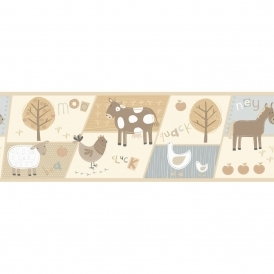 Farm Animals Hoopla Wallpaper Border Neutral Cream / Blue (DLB07530)