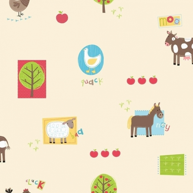 Fine Decor: Hoopla Farm Animals Hoopla Wallpaper Multi Coloured Bright (DL30720)