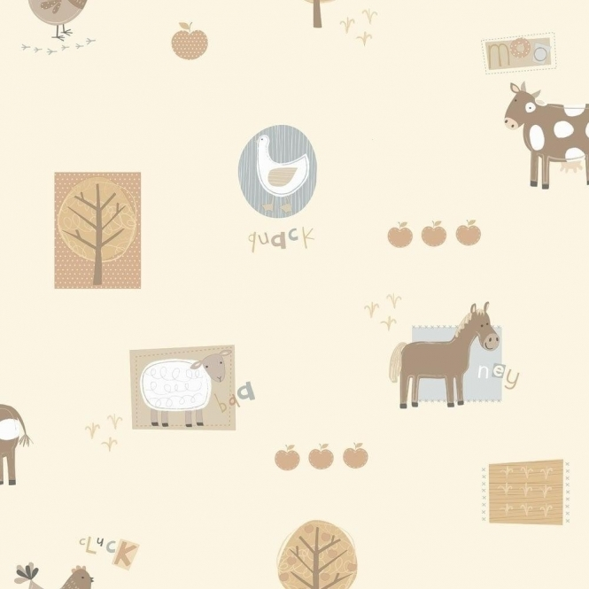 Fine Decor: Hoopla Farm Animals Hoopla Wallpaper Neutral Cream / Blue (DL30718)