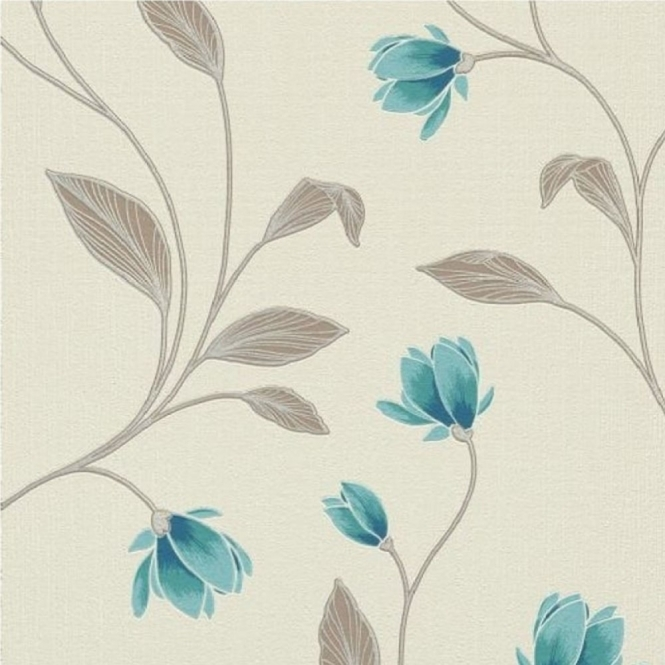 Erismann Fashion Textures Floral Wallpaper Magnolia, Teal (9662-18)