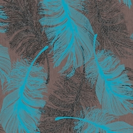 Feathers Blown Vinyl Wallpaper Chocolate Teal