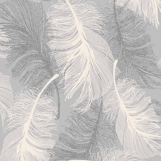 Coloroll Feathers Blown Vinyl Wallpaper Glitter Dappled Grey White