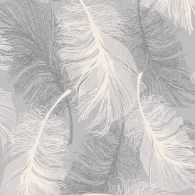 Feathers Blown Vinyl Wallpaper Glitter Dappled Grey White