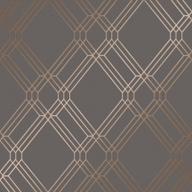 Filigree Geometric Wallpaper Charcoal, Rose
