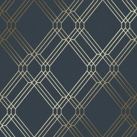 Filigree Geometric Wallpaper Navy, Gold