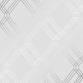 Filigree Geometric Wallpaper Silver