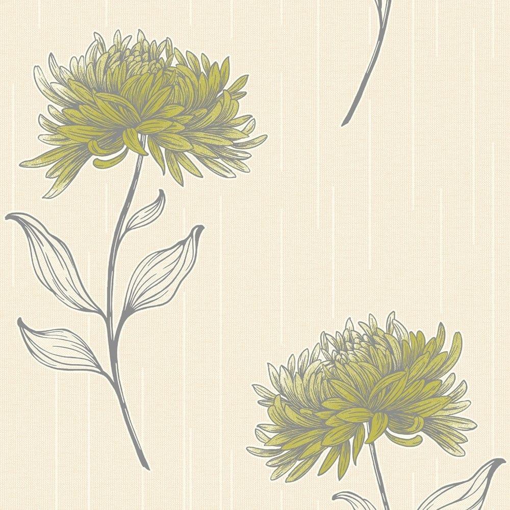 Fine Decor Amelia Floral Wallpaper Lime Green Fd31381