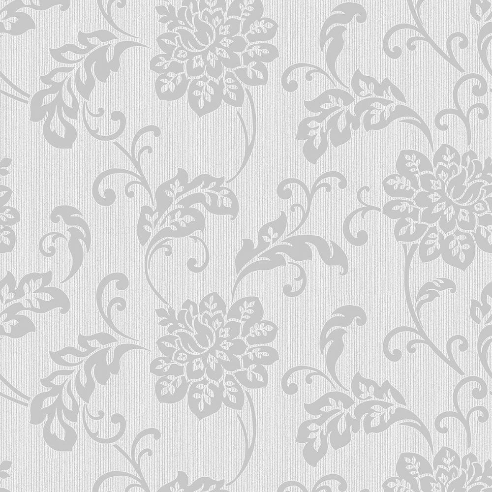 Fine Decor Burlington Floral Wallpaper Silver Fd40629