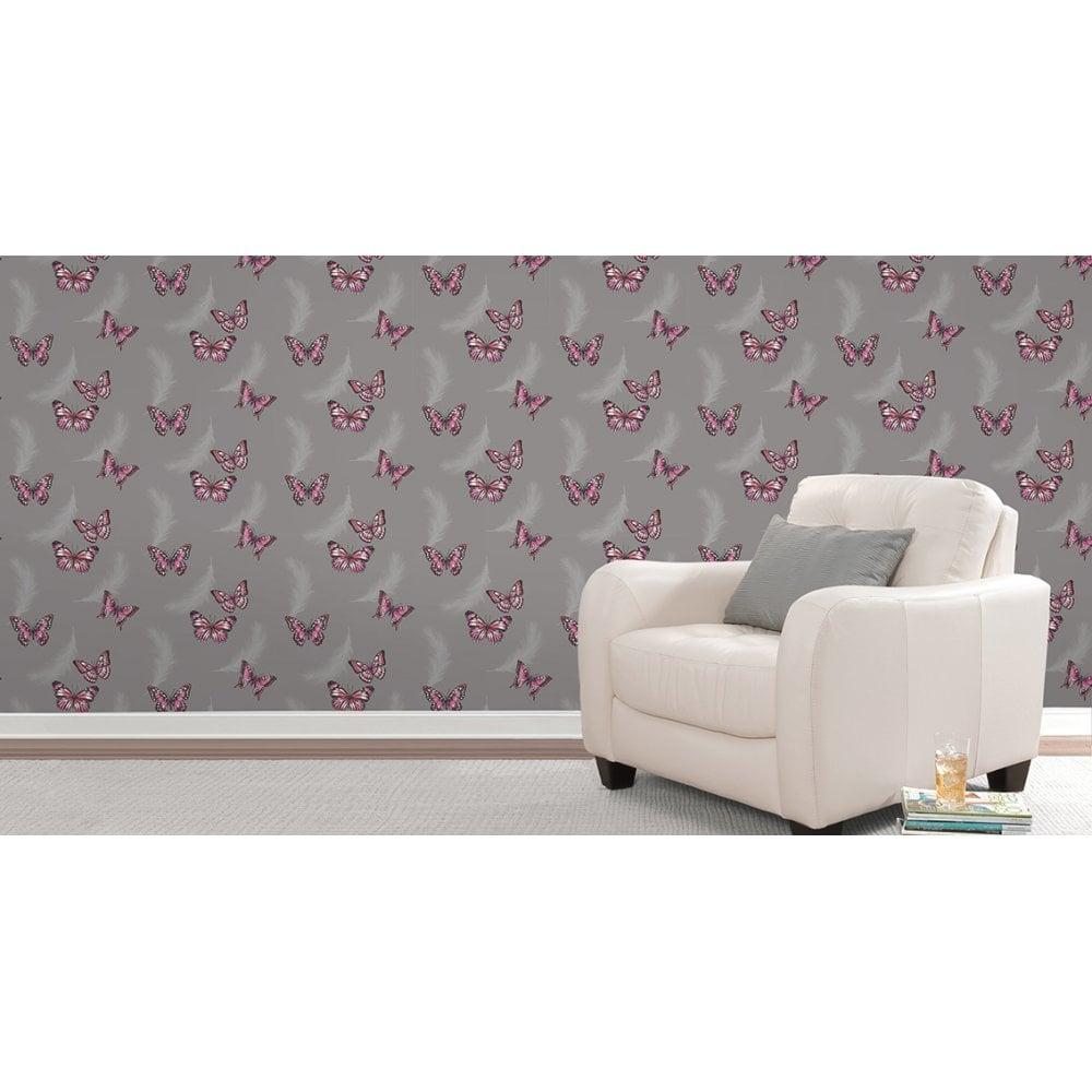 Fine Decor Butterflies Feather Patterned Wallpaper Charcoal FD40917