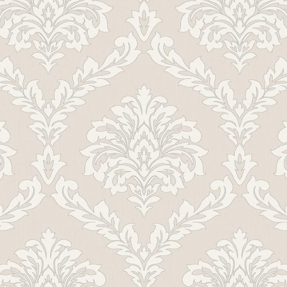 Fine decor cavendish damask wallpaper beige fd40987 for Black white damask wallpaper mural