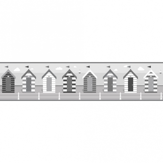 Fine Decor Ceramica Beach Huts Self Adhesive Border Black / White / Grey (FDB50022)