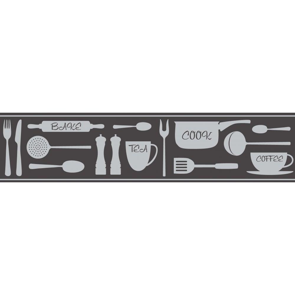 Fine decor ceramica cook tea coffee metallic self adhesive - Frise adhesive cuisine ...