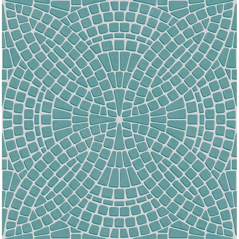 Fine Decor Ceramica Mosaic Tile Effect Wallpaper Teal