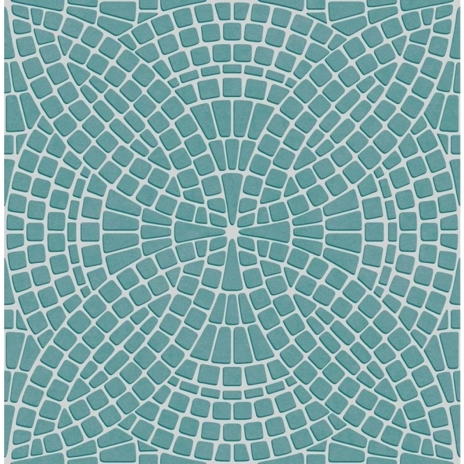 Fine Decor Ceramica Mosaic Tile Effect Washable Wallpaper Teal / Silver (FD40128)