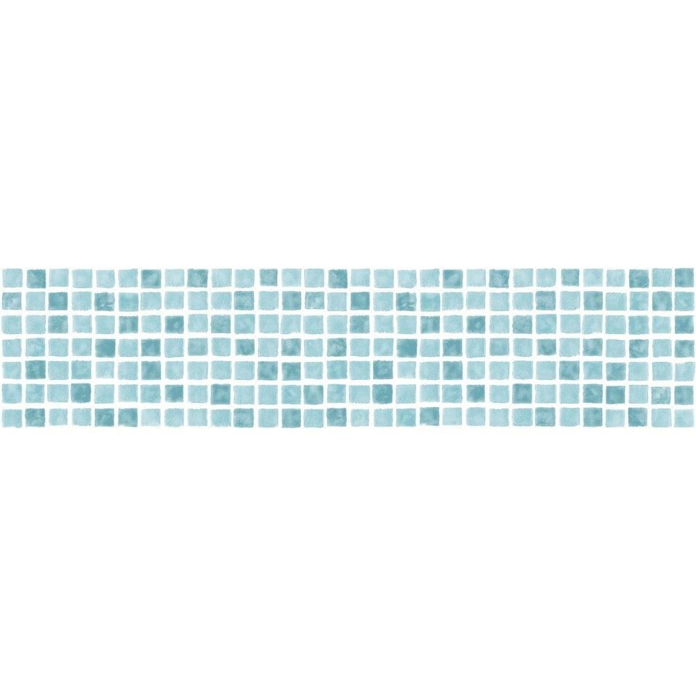 Fine Decor Ceramica Mosaic Tile Self Adhesive Border Aqua