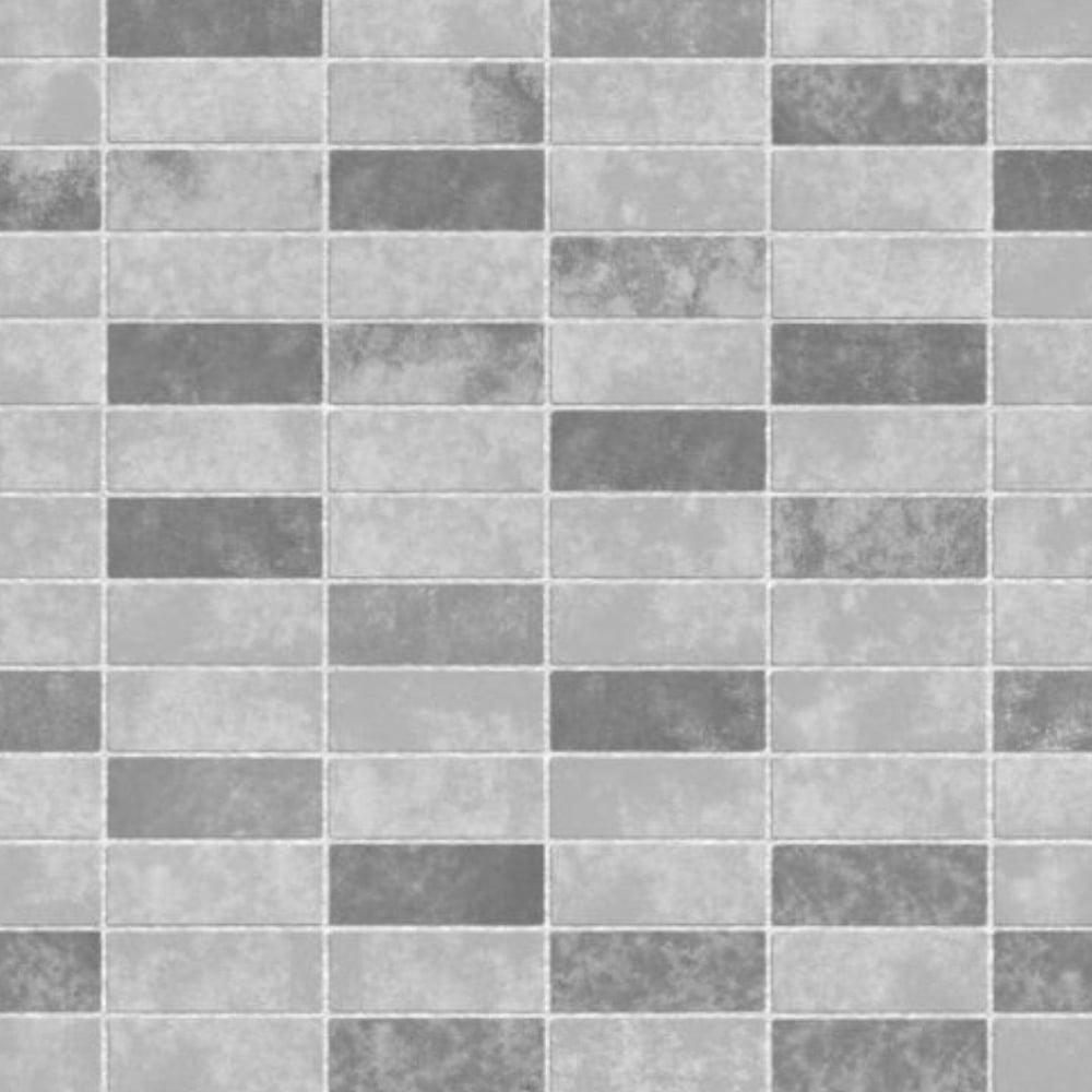 Fine Decor Ceramica Small Tile Effect Wallpaper Grey, Soft Grey ...